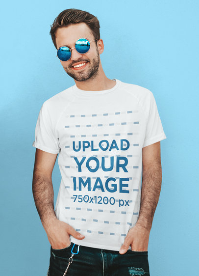 T-Shirt Mockup of a Bearded Man with Round Sunglasses M2652-r-el2