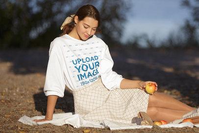 Sweatshirt Mockup of a Woman Having a Picnic by the Lake m3833-r-el2
