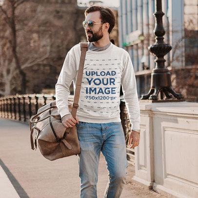Sweatshirt Mockup of a Bearded Man Walking Through a City with a Bag m4227-r-el2