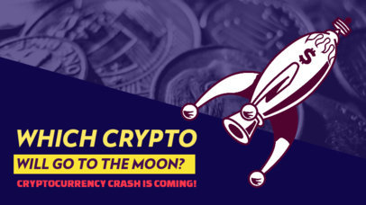 Cryptocurrency-Themed YouTube Thumbnail Design Generator Featuring a Rocket Illustration 3585e