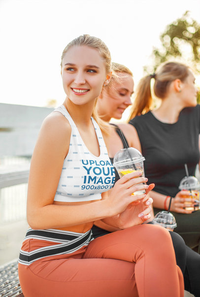 Sports Bra Mockup of a Woman Hanging Out with Friends m4292-r-el2