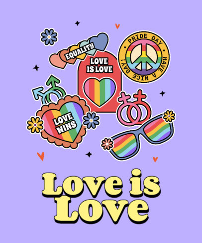 LGBT-Themed T-Shirt Design Maker Featuring Colorful Stickers 3602