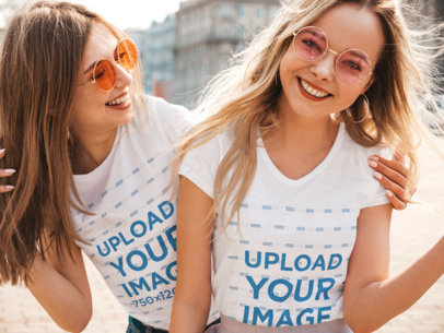 T-Shirt Mockup of a Young Woman Hugging Her Bestie m2878-r-el2