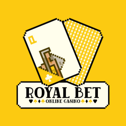 Logo Template for Virtual Casinos Featuring 8-Bit Poker Cards 3793a-el1