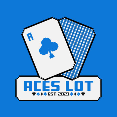 Logo Template for Online Casinos Featuring an 8-Bit Ace Card Graphic 3793e-el1