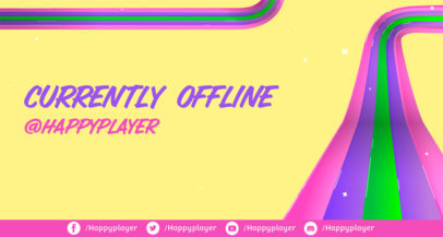 Colorful Twitch Offline Banner Template for Streamers Featuring an LGBT Pride Theme 3589c