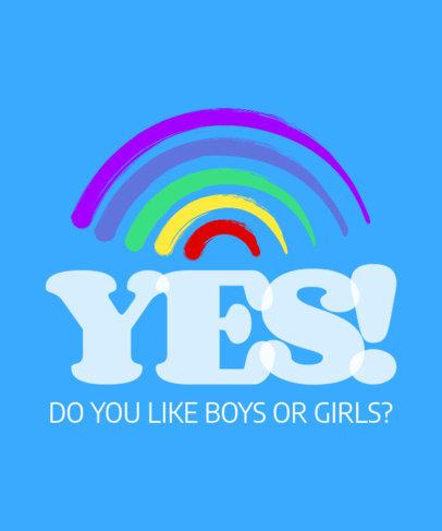 Fun T-Shirt Design Template with an LGBTQ Pride Phrase 3591d