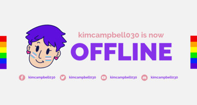 Twitch Offline Banner Creator with an LGBTQ Flag Graphic 3588a