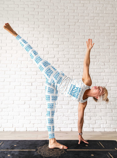 Leggings Mockup of a Woman Wearing a Tank Top While Doing Yoga m4297-r-el2