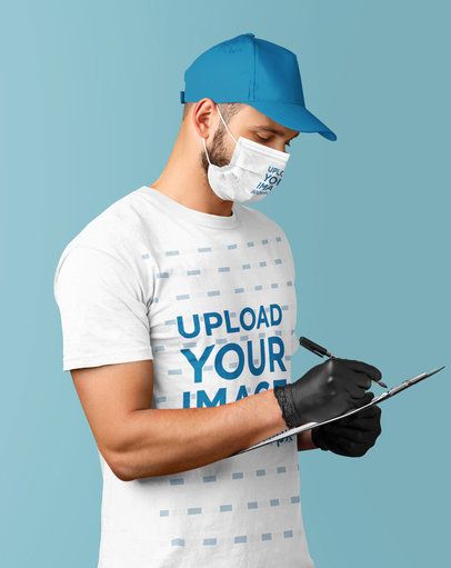 T-Shirt Mockup of a Delivery Man with a Face Mask at a Studio m3983-r-el2