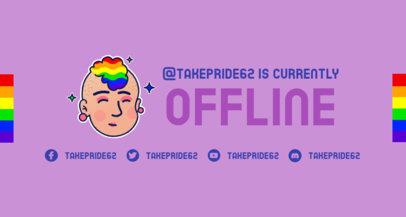 Twitch Offline Banner Creator Featuring an LGBTQ Avatar with Rainbow Hair 3588c