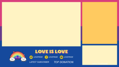 LGBT-Themed Twitch Overlay Design Template Featuring a Happy Rainbow Cartoon 3590d