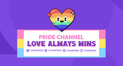 LGBTQ-Themed Twitch Banner Maker Featuring a Colorful Heart Cartoon 3590b