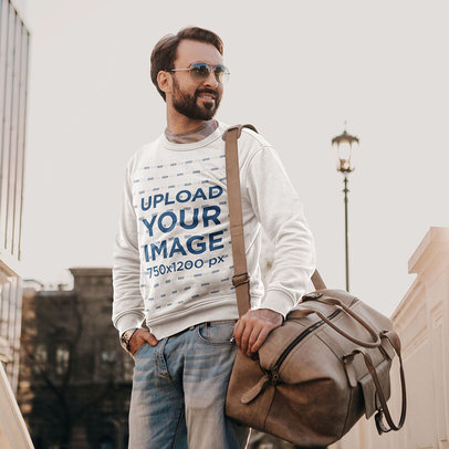 Sweatshirt Mockup of a Bearded Man with a Carry-On Bag m4235-r-el2