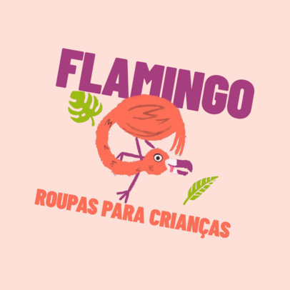 Logo Template for a Kids' Clothing Store Featuring a Flamingo Illustration 4255d
