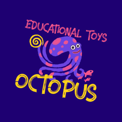 Logo Maker for an Educational Toys Brand Featuring an Octopus Illustration 4255i