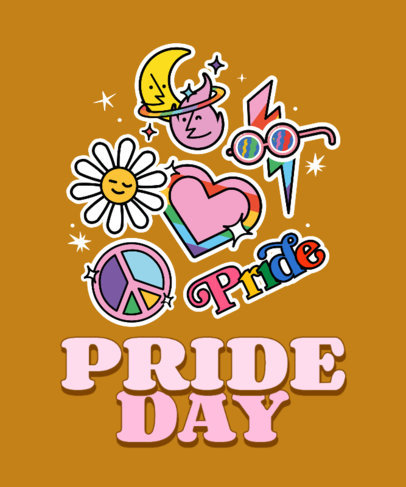 T-Shirt Design Template to Celebrate LGBTQ Pride Day 3602m