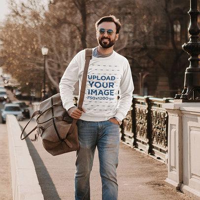 Sweatshirt Mockup of a Bearded Man Walking on a Sidewalk m4238-r-el2