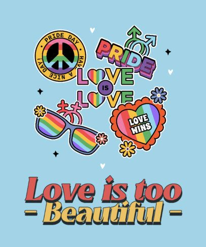 LGBTQ-Themed T-Shirt Design Template for Pride Month Featuring Colorful Graphics 3602f