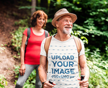 T-Shirt Mockup of a Senior Explorer Hiking with His Wife m4531-r-el2