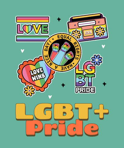 T-Shirt Design Generator Featuring an LGBTQ Pride Message and Fun Stickers 3602h