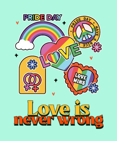 T-Shirt Design Maker for LGBT Pride Day Featuring Rainbow Stickers 3602l