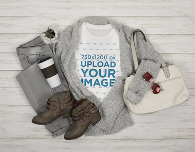 T-Shirt Mockup Featuring a Woman's Winter Outfit 5060-el1