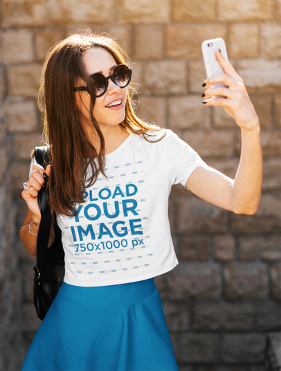 Crop Top Mockup of a Female Tourist Taking a Picture With Her Phone m2810-r-el2
