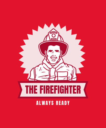 Retro T-Shirt Design Template with a Firefighter Character 13b