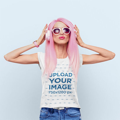 T-Shirt Mockup Featuring a Woman Wearing a Pink Wig m3137-r-el2
