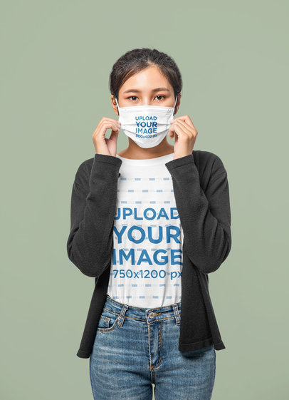 T-Shirt Mockup of a Female Teen Wearing a Face Mask m4682-r-el2