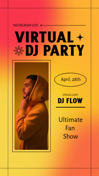 Instagram Story Design Generator for a Virtual DJ Party 3830b-el1