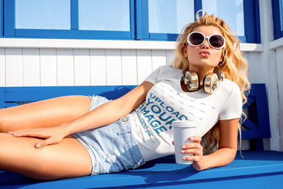 V-Neck T-Shirt Mockup of a Woman with Sunglasses Lying on a Bench 37839-r-el2
