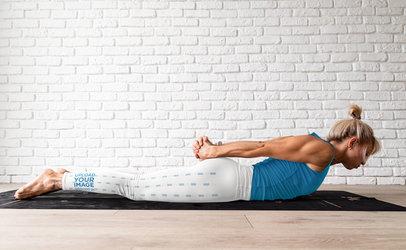Side Leggings Mockup Featuring a Woman Doing Yoga M4704-r-el2