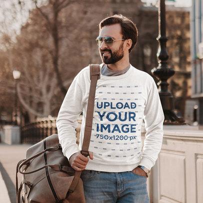 Mockup Featuring a Bearded Man Wearing a Customizable Sweatshirt in the City m4239-r-el2
