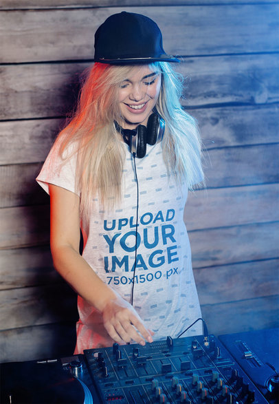 T-Shirt Mockup Featuring a Female DJ Playing Music on a Turntable m3868-r-el2