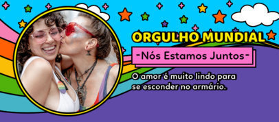 LGBTQ Pride-Themed Facebook Cover Generator Featuring Rainbow and Star Graphics 3607d