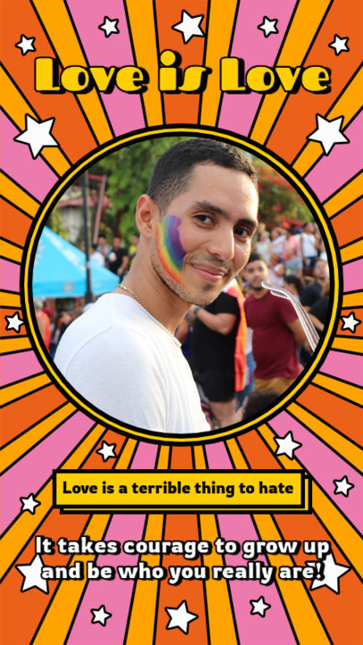 Instagram Story Maker Featuring an LGBTQ-Themed Quote and a Groovy Background 3607f