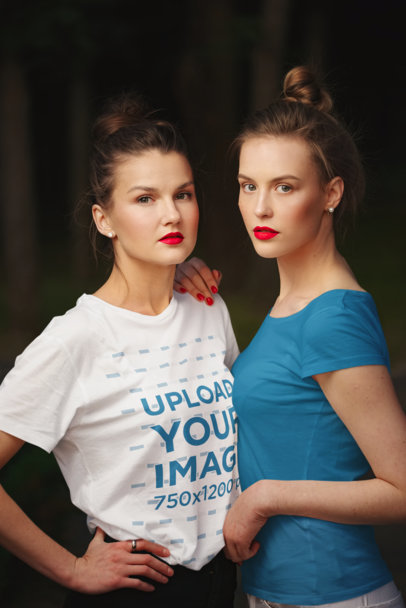 Mockup of Two Women Wearing T-Shirts and Red Lips 35680-r-el2