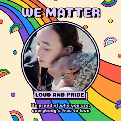 Instagram Post Maker for LGBT Pride Month Featuring Rainbow Graphics and a Quote 3607l