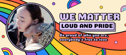 Facebook Cover Template for LGBT Pride Month Featuring Rainbow Graphics and a Quote 3607l
