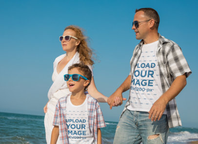 T-Shirt Mockup Featuring a Family of Three Hanging Out by the Beach 35278-r-el2