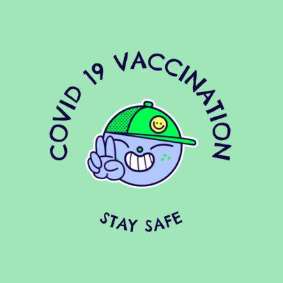 T-Shirt Design Maker Featuring a Sticker and a Coronavirus Vaccination Theme 4282f