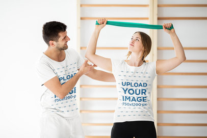 T-Shirt Mockup of a Young Woman and Her Trainer in a Fitness Class 45712r-el2