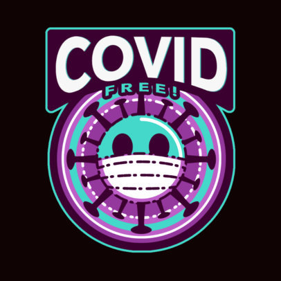T-Shirt Design Template for a COVID Vaccination Campaign with a Sticker Graphic 4280e