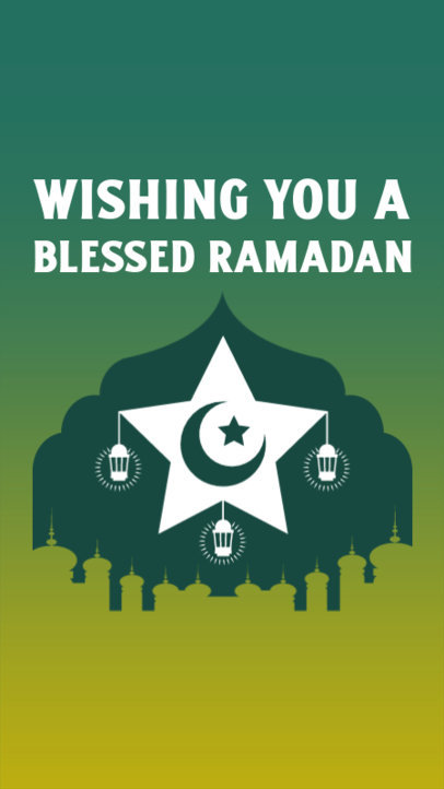 Instagram Story Generator for Ramadan Month Featuring a Star and Lantern Graphics 3614f