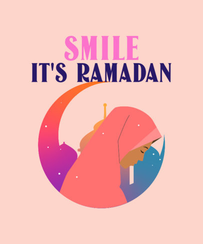 T-Shirt Design Maker for Ramadan Featuring a Praying Woman Illustration 3616g