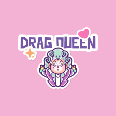 Cartoonish Twitch Emote Logo Template Featuring a Fabulous Drag Queen 4284a