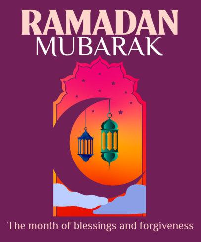 T-Shirt Design Creator with a Crescent Moon Illustration for Ramadan 3616h