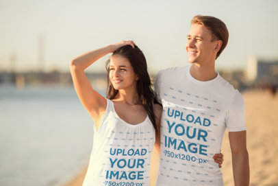 T-Shirt and Tank Top Mockup of a Couple Looking at the Sunset 45899-r-el2